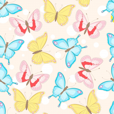 blue, pink and yellow beautiful butterflies Stock Vector - 14872991