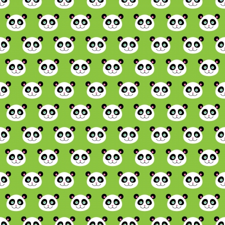 seamless pattern of a smiling cute pandas Vector