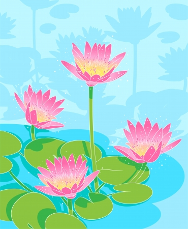 pond with beautiful pink lilies 일러스트