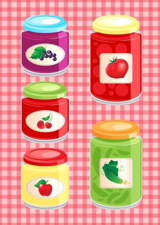 jams and pickled vegetables Illustration