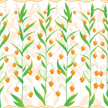 seamless pattern of a small orange flowers and a striped ribbon Stock Vector - 14873000