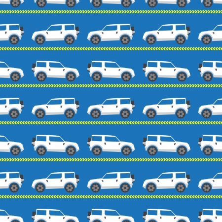 seamless pattern with white automobiles on a blue background Illustration