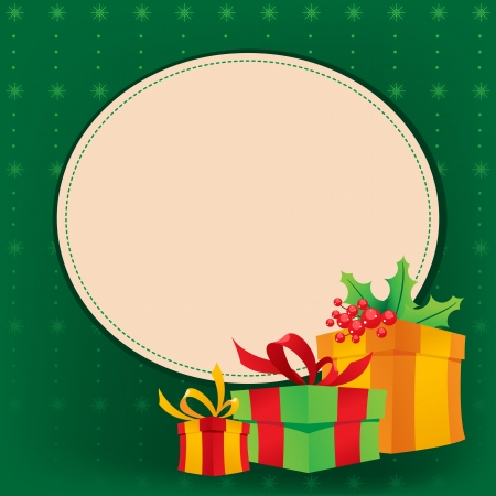 Christmas gifts on a green background with snowflakes