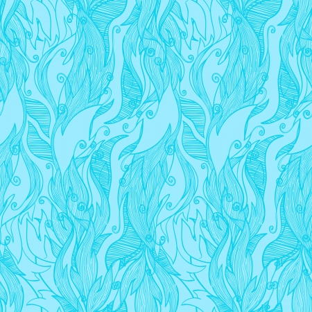 deciduous blue seamless pattern with swirls Stock Vector - 15057167