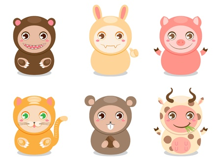 Set of six cute animals on a white background Vector