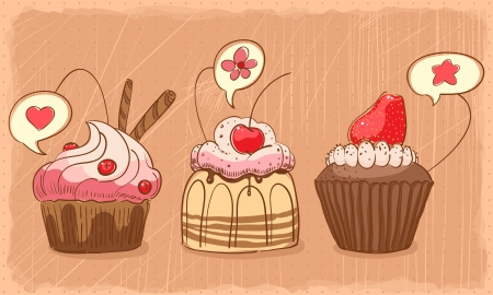 three lovely muffins on orange shabby backdrop Vector