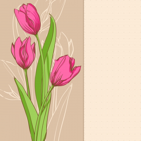 pink tulips on beige background Vector