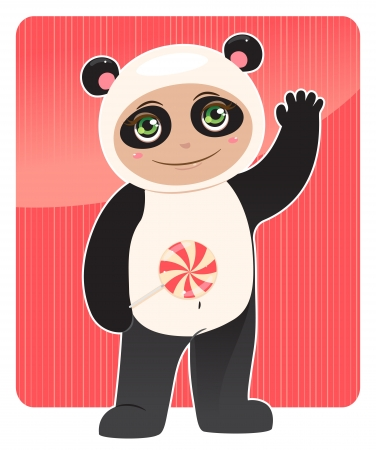 smiling baby in panda costume with a lollipop in his hand Vector