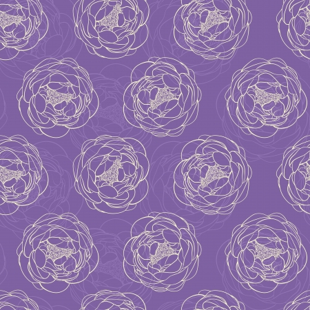 purple seamless background with peonies Vector