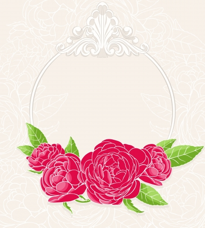 frame with roses on a beige background
