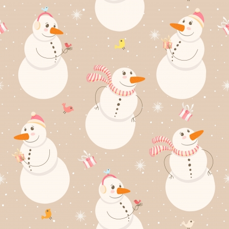 Seamless winter pattern with snowmen on a beige background Vector