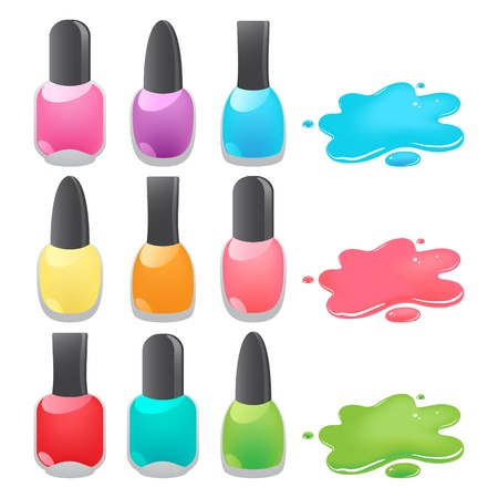 bottles of different colors nail polish Vector