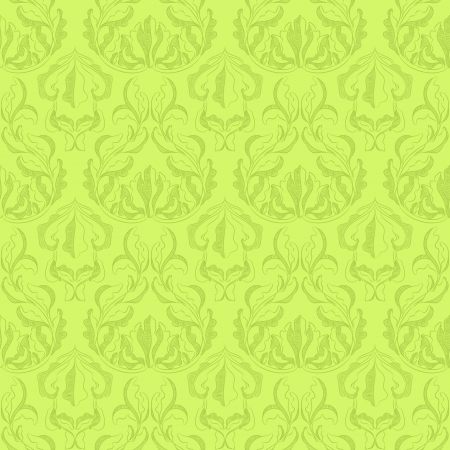 Seamless green pattern with antique leafs Vector