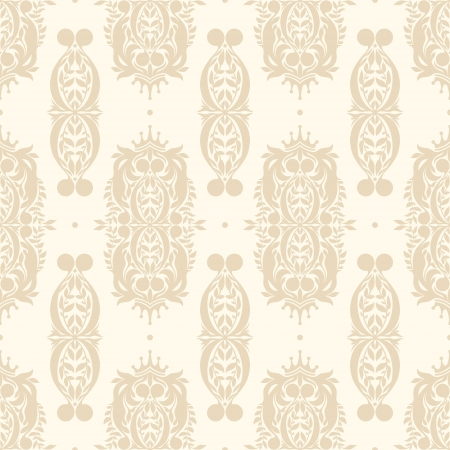 retro beige nature seamless pattern with a crowns Vector
