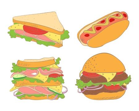 Conjunto de perros calientes hamburguesas, sándwiches y dos Foto de archivo - 15332276