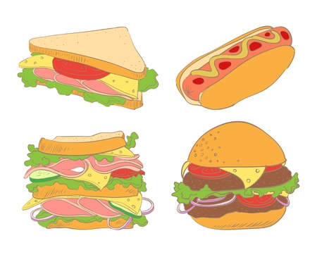 set of hamburger, hot dogs and two sandwiches Vector