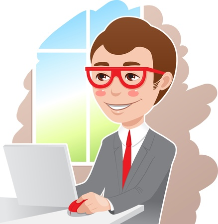 gray suit: a man in a gray suit and glasses at work Illustration