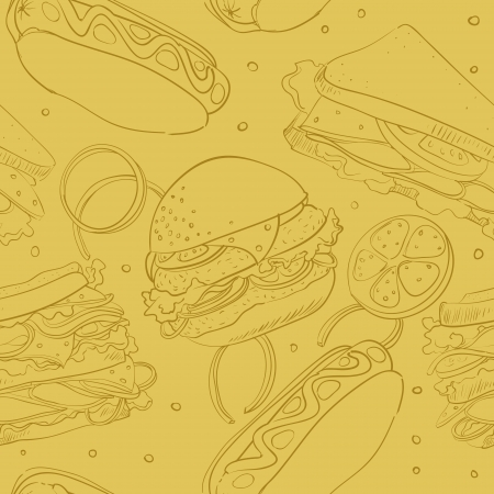 seamless wallpaper with hamburger, hot dogs, sandwiches Vector