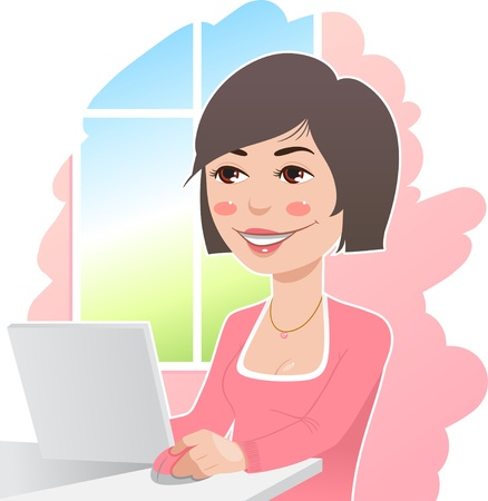 woman in a pink sweater at work Vector