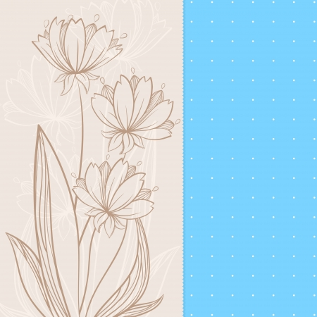 graphic beige flowers on blue and beige backgrounds  Vector