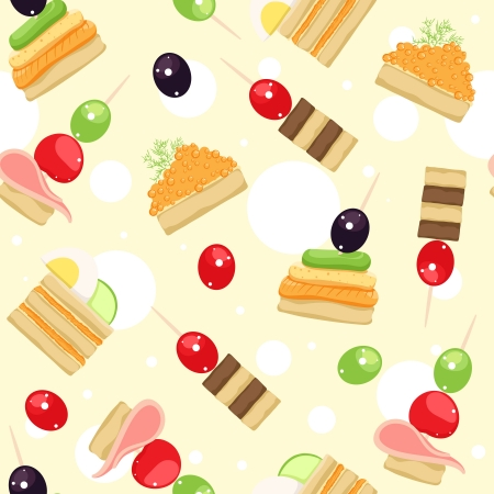 Seamless pattern with different canapes Vector