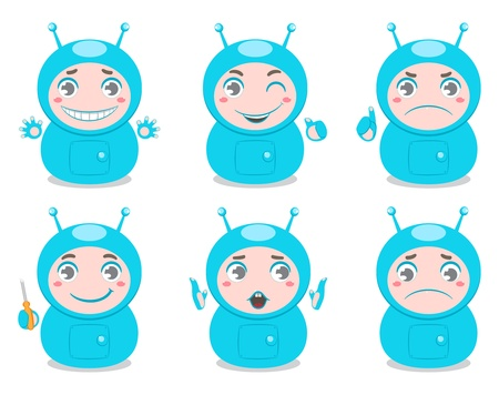 emotion expression: set of six cute robots with different emotions