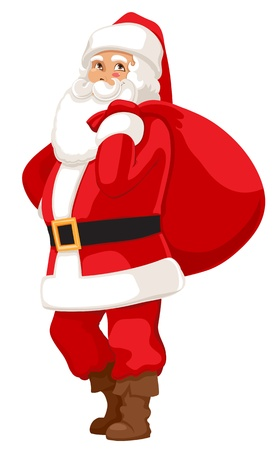 smiling Santa with a bag of gifts  Vector