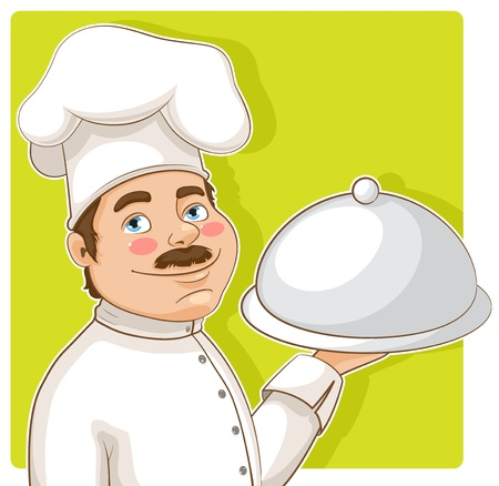 cute smiling chef with a tray on a green background Stock Vector - 15794024