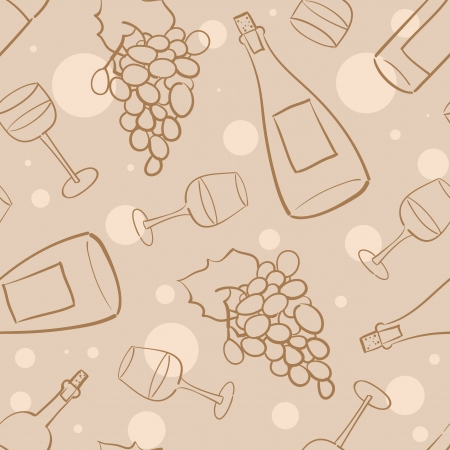 Seamless pattern with grapes, wine bottles and glasses with wine Vector