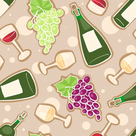Seamless pattern with grapes, wine bottles and glasses with red and white wine  Vector