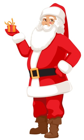 smiling Santa with a small gift Vector