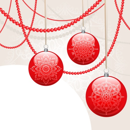 spherule: New Year Card with red festive toys and beads
