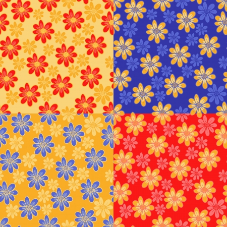 Seamless floral pattern with cute flowers  four different color solutions Stock Vector - 16264324