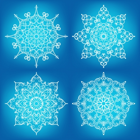 a set of four beautiful snowflakes on a blue background Stock Vector - 16264323