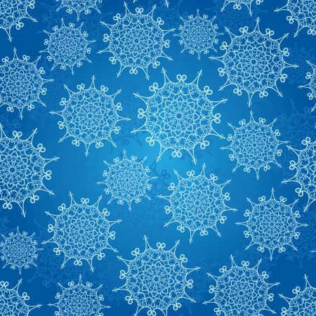 Seamless pattern with snowflakes on a blue background Stock Vector - 16264326
