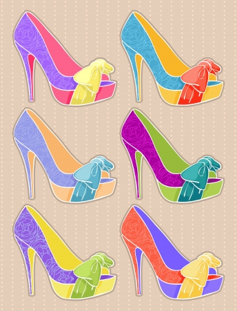 stilettos:  Set of women s shoes with high heels on a beige background