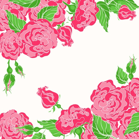 beautiful card with pink roses and green leafs and with place for text Stock Vector - 16765715