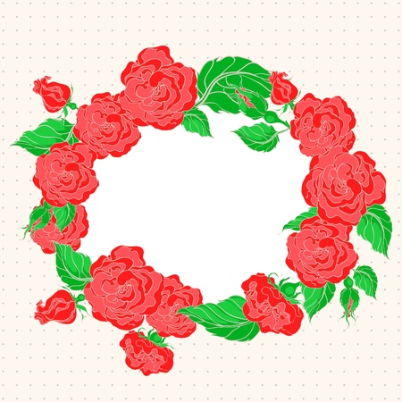 beautiful card with frame with red roses and green leafs on a beige background Stock Vector - 16765716