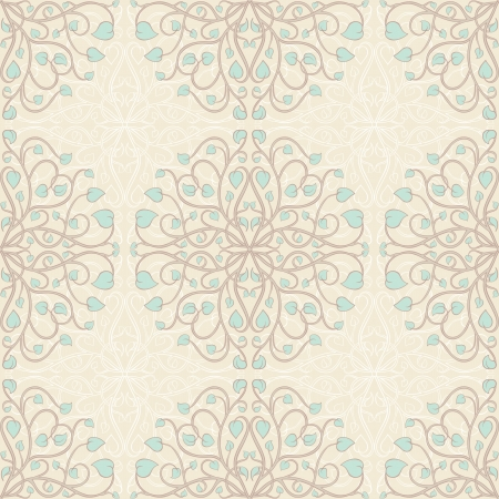 beautiful natural seamless pattern with turquoise leafs Illustration