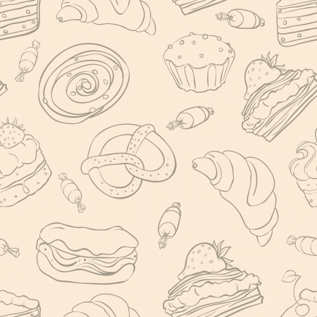Seamless pattern with a variety of delicious desserts Vector