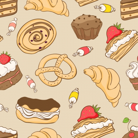 Seamless pattern with a variety of delicious desserts - 2 Stock Vector - 16917608