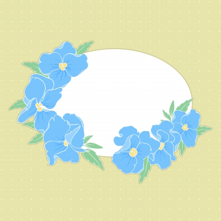 frame with pansies on a yellow background with space for text Stock Vector - 16917610