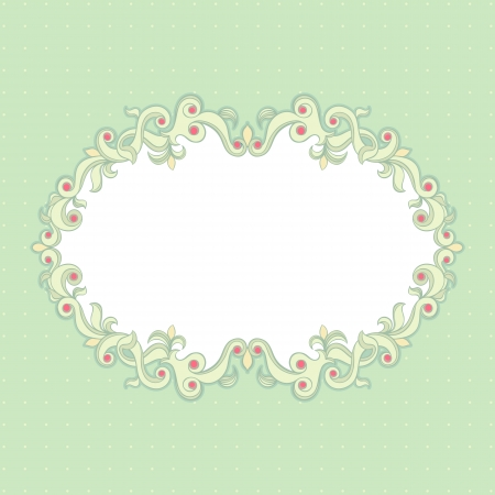 Beautiful floral frame on a green background Stock Vector - 16917607