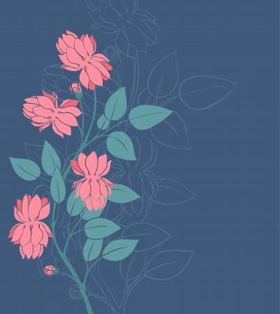 Beautiful pink flowers on a dark blue background Stock Vector - 16917602