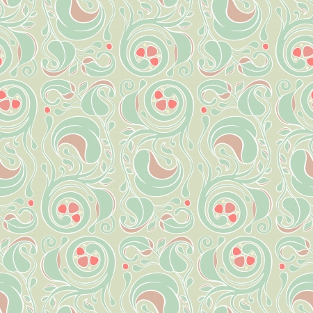 seamless picture with vertical floral pattern on green background Stock Vector - 17166173