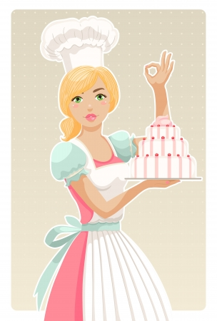 attractive girl chef holding a cake Vector