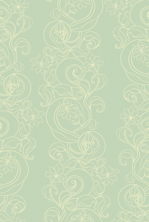 seamless picture with vertical floral pattern on green background Stock Vector - 17166170