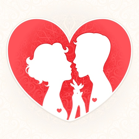 male and female silhouettes of lovers on a background of red hearts Vector
