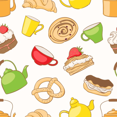 Seamless pattern with a variety of delicious desserts and tea accessories Vector