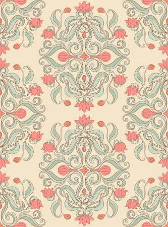 Seamless floral pattern with pink flowers and buds Stock Vector - 17289760